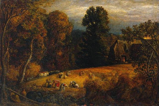 The Gleaning Field circa 1833 by Samuel Palmer 1805-1881